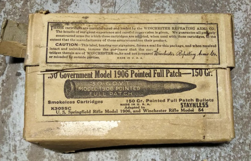 30 Government Model 1906 Pointed Full Patch 150gr 100RD Bag
