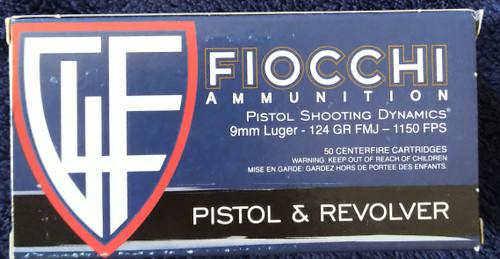 Fiocchi 9MM FMJ 50RD Box 124GR