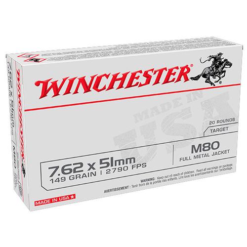 Winchester 7.62x51mm Ammunition WM80 149 Grain Full Metal Jacket