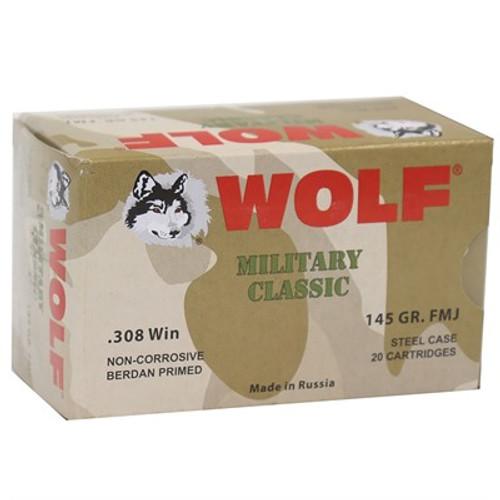 WOLF AMMO .308WIN 145GR FMJ 20RD/BX