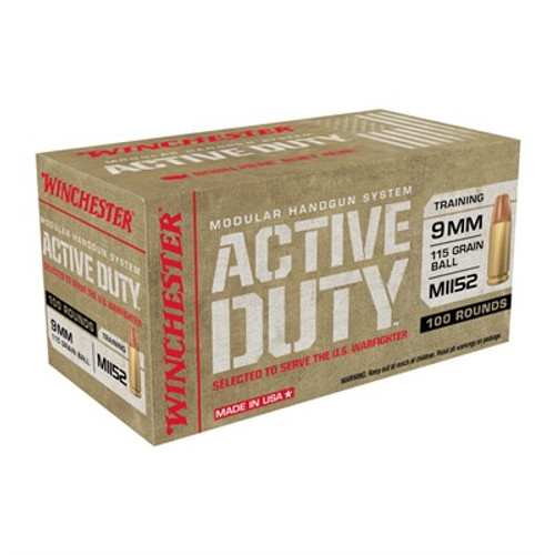 WINCHESTER MHS ACTIVE DUTY M1152 9MM 115GR FMJ 100RD/BX