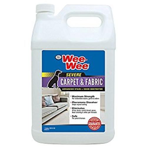 Wee-Wee® SEVERE Carpet & Fabric Stain & Odor Destroyer maximum strength formula permanently removes embedded stains, grime & odors, while the Pheromone Dissolver eliminates pet-attractant scents to discourage repeat accidents. Fabric Protect technology leaves fabrics bright & soft to the touch. Treat urine, feces, vomit, blood, grass, food coloring & other pet messes. Safe, effective & guaranteed to work!