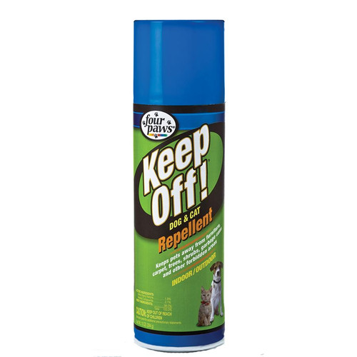 Four Paws® Keep Off!® Repellent is the perfect aid for training dogs and cats to stay off furniture, draperies, counters, table tops, household plants, outdoor shrubbery and more. Repels for up to 24 hours when applied daily. Effective indoors and outdoors. 10 oz. Aerosol.