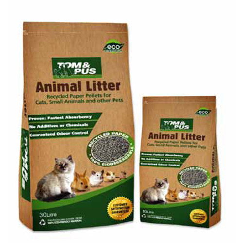 Tom and Pus Recycled Paper Animal Litter