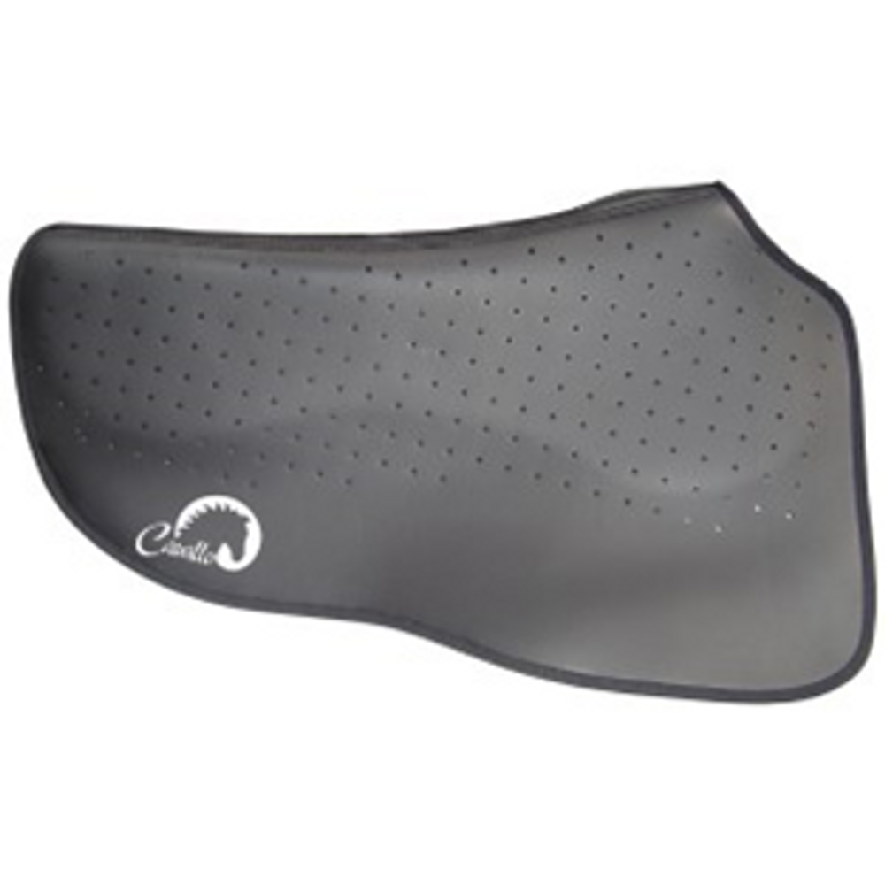 "Shaped to the horse's top line, allowing ample wither space. Memory foam ensures that pressure and weight are not continual, but yielding. Excellent for all sports requiring lateral flexion. The maximum defense against back pain, yet still thin to maintain 'feel'. Length: 72 cm (28.5"") Width: 86 cm (34"") tapering to 56 cm (22"")"