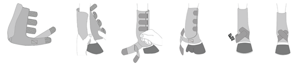 For information on how to properly place your Iconoclast® Orthopedic Support Boots on your horse examine this diagram or watch the following video.