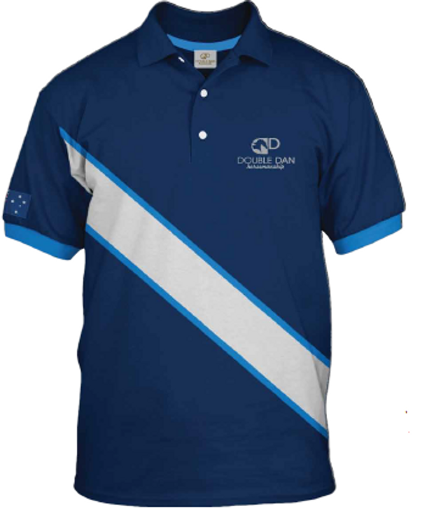 Blue Diagonal Stripe Polo Shirt
