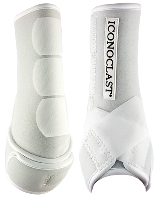 Iconoclast® Orthopedic Support Boots feature our patented Double Sling Straps® for unparalleled lateral support. With its evenly distributed support to the suspensory branches, Iconoclast® is the only boot that truly lifts and cradles the equine leg. Designed to reduce joint interference and restriction, this is the perfect all around boot for every equine discipline.   Designed to use every day while riding to aid in the prevention of soft tissue damage of the lower legs, Iconoclast® Orthopedic Support Boots will help your horse feel more confident with each step he takes, in and out of the arena.