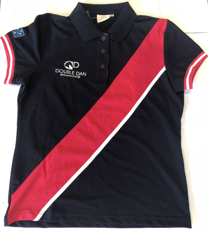 Quality cotton polyester pique knit polo shirt. Navy with pink and white detailing.  Embroidered logos and Australian flag on sleeve.   Ladies sizes 8-18 (tailored fit) Unisex sizes - XL - XXL  (straight fit).