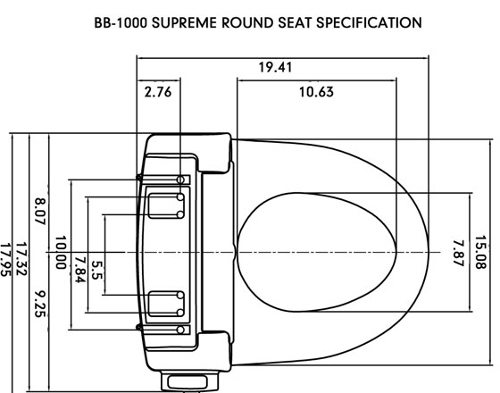 Bio Bidet Supreme Bb 1000 Round Measurement Toilet Seat Measurements