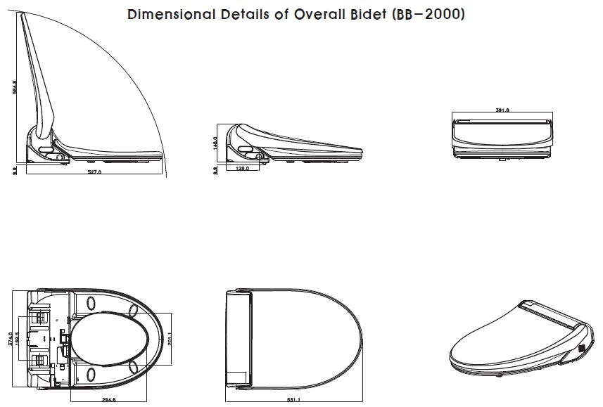 Bio Bidet Bliss BB-2000 Dimensions