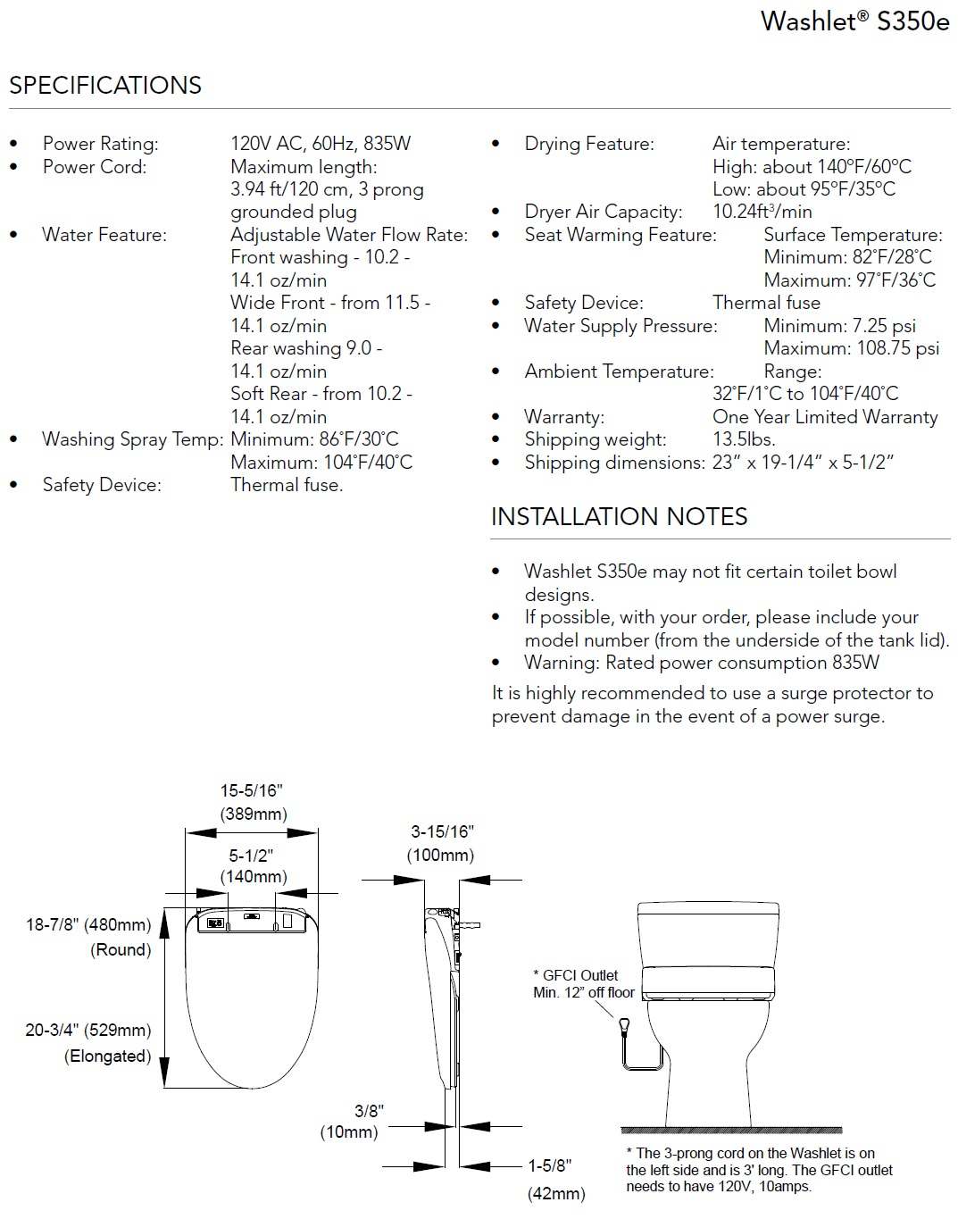 TOTO S350e Washlet Specifications
