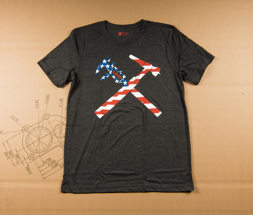 Torch and Caliper Flag T-Shirt - Gray