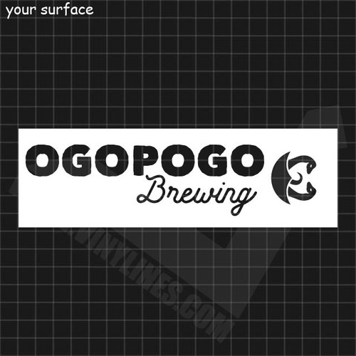 Ogopogo Brewing logo with serpents outside of circle paint stencil