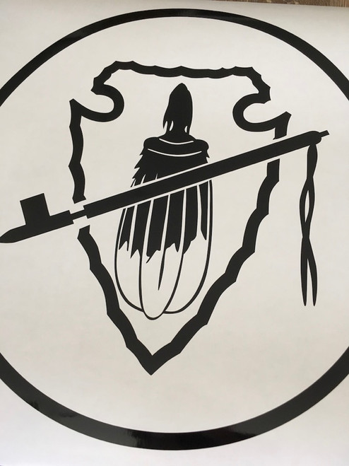 Spear, Pipe, Feathers in a Circle Decal - Style 3