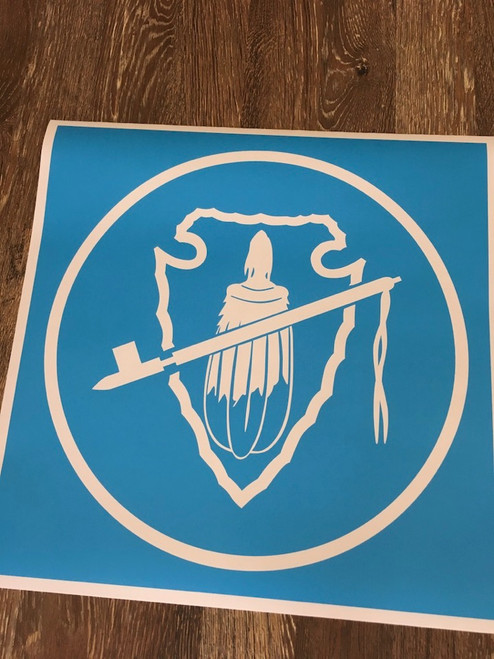 Spear, Pipe, Feathers in a Circle Stencil - Style 3