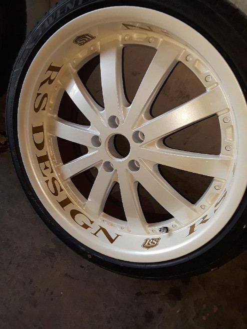 After photo of a custom painted RS Design wheel using a positive decal as a paint stencil.