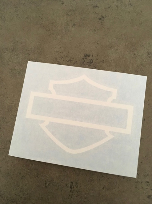 Example of a white decal with transfer tape
