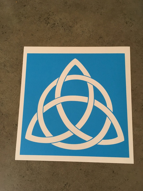 Translucent blue stencil material.