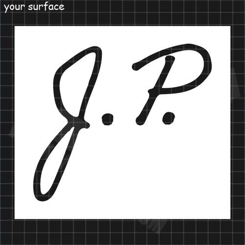 Hand Drawn Initials J.P. Paint Stencil