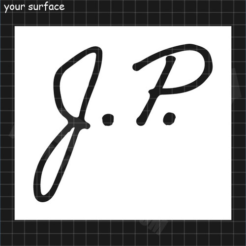 Hand Drawn Initials J.P. Paint Stencil