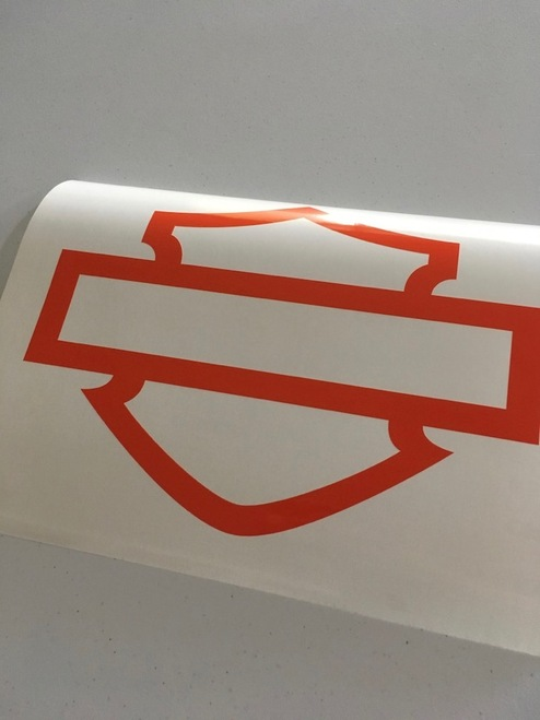 Cut out of glossy orange material