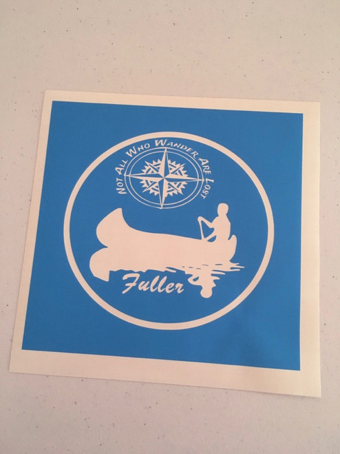 Translucent blue stencil shown without transfer tape