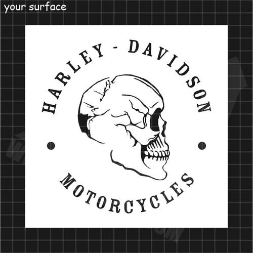 Harley-Davidson Motorcycles Text Around Skull Stencil