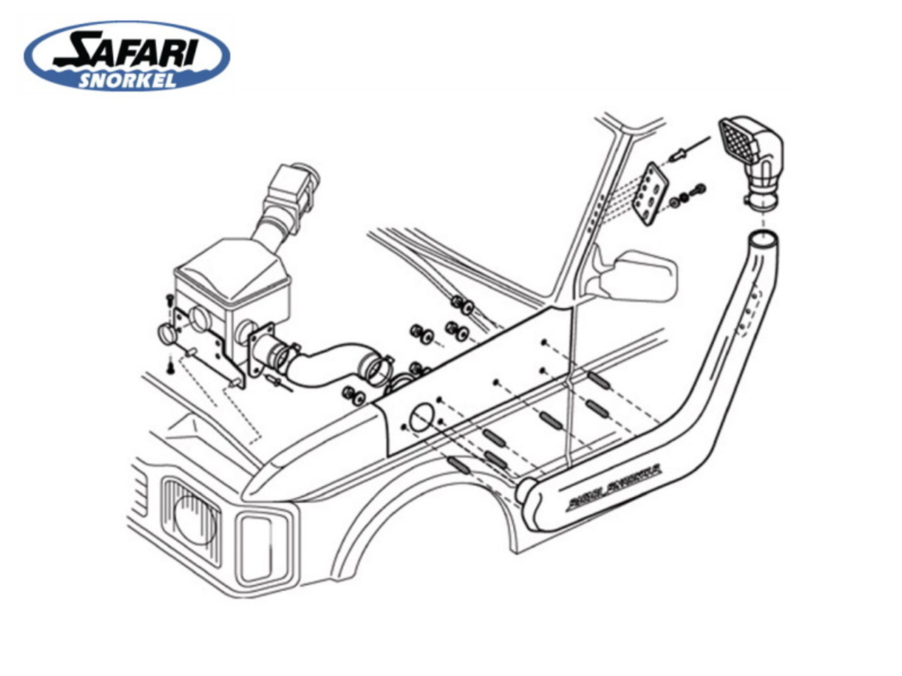 Safari Raised Air Snorkel For Discovery 1 300Tdi and 1994 Onwards V8 With ABS