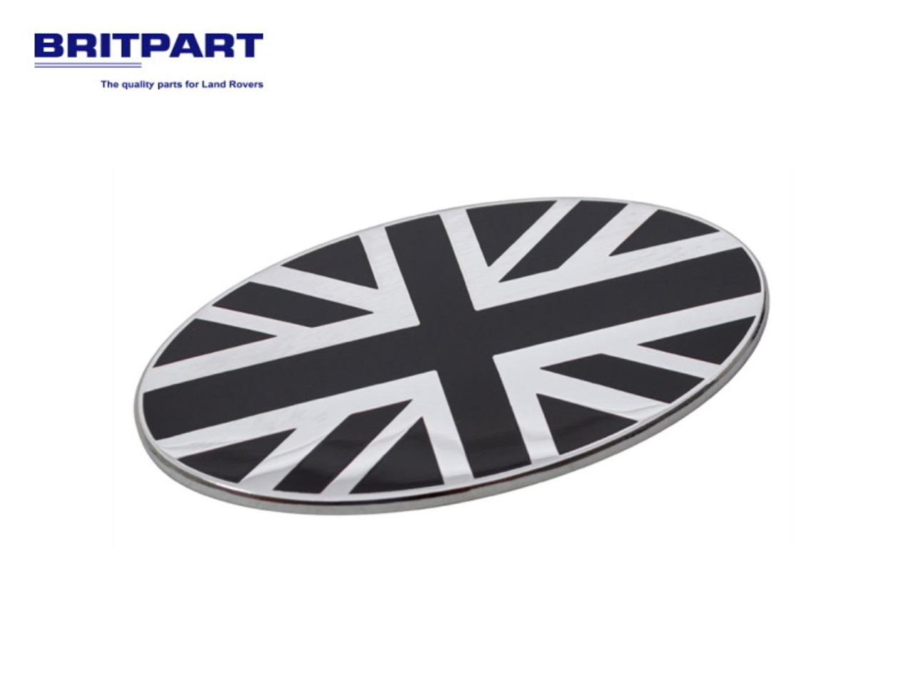 Britpart Black And Chrome Union Jack Oval Badge - DA7638