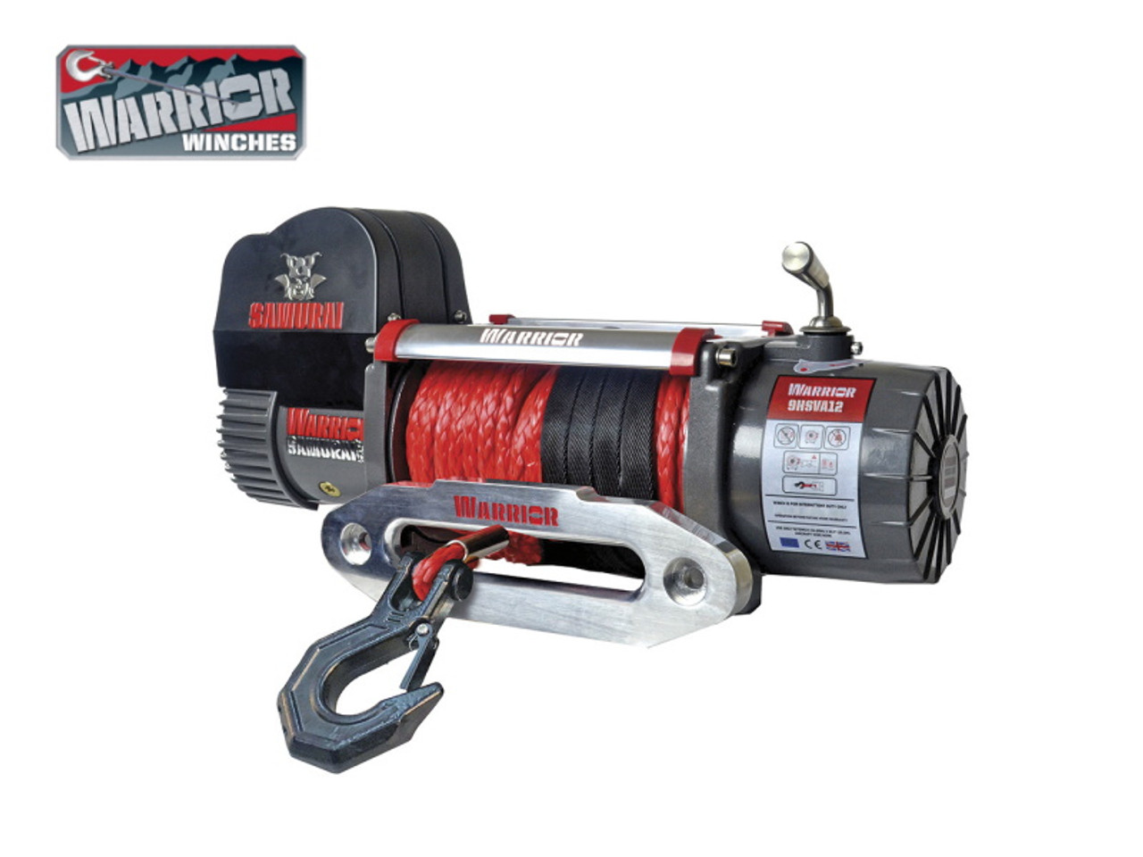 Warrior 9,500lb V2 HiSpeed Samurai 12v Electrical Winch With Synthetic Rope - 9HSVA12