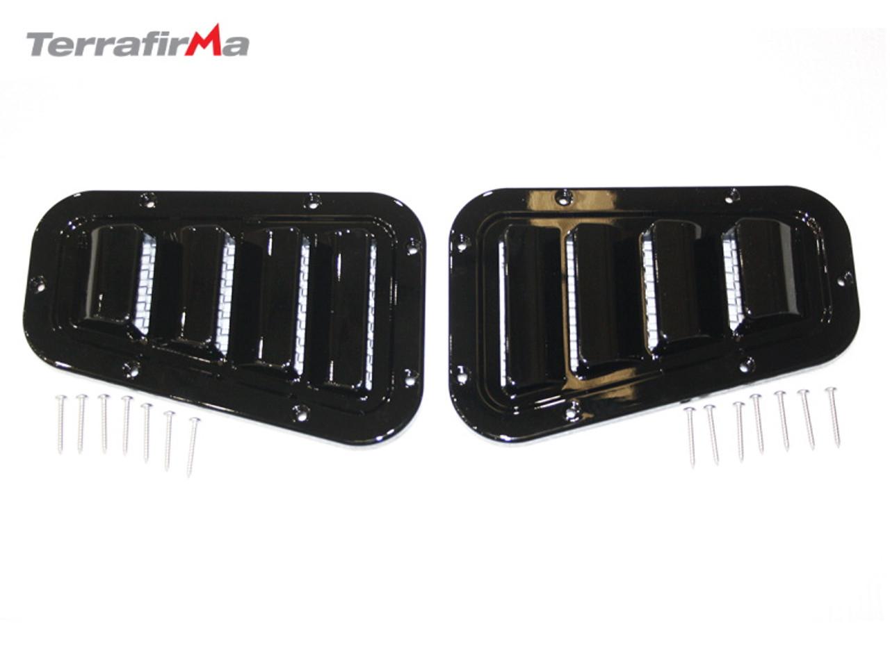Terrafirma Sport Gloss Black Wing Top Grills For Defender 90/110/130 - TF272GF