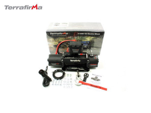 TERRAFIRMA A12000 SYNTHETIC ROPED WINCH WITH WIRELESS AND CABLED REMOTE CONTROL