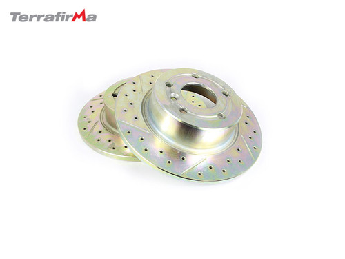 TERRAFIRMA REAR DRILLED AND GROOVED BRAKE DISCS D2/P38