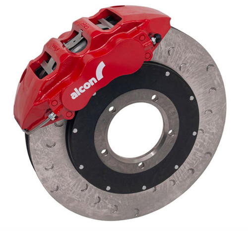 Alcon Defender 18 Inch Front Brake Kit Upgrade Kit With Red Calipers