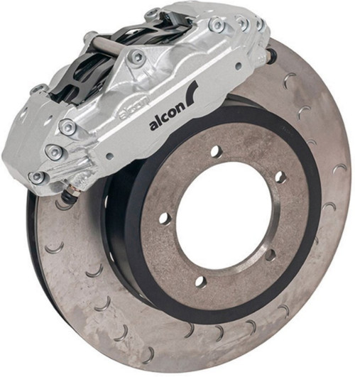 Alcon Defender 16 Inch 4 Pot Front Brake Kit Upgrade Kit With Silver Calipers