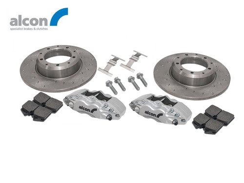 Alcon Defender 16 Inch 4 Pot Rear Brake Kit Upgrade Kit With Silver Calipers