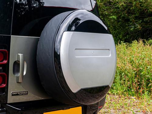New Defender Gloss Black And Silver Spare Wheel Cover - DA2891