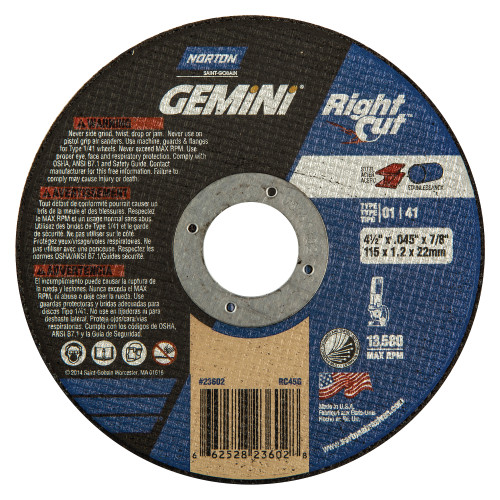 "Norton Gemini Right-Cut Cut Off Wheel 4 1/2"" x .045"" X (7/8"" Arbor)"
