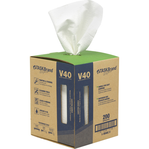 "TaskBrand® V40 Value Series Wipers 200 Sheets 12""x 10"""