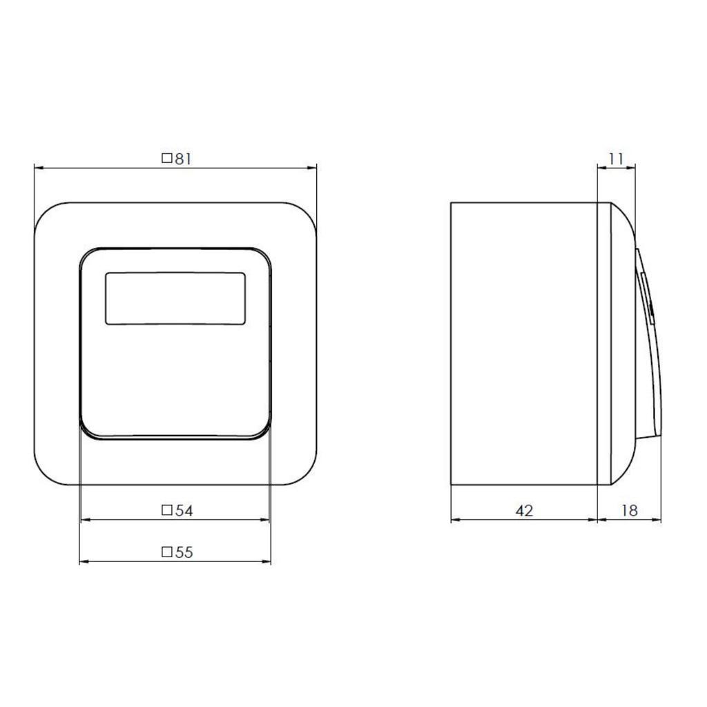 Dimensions Red Door release Switch GTU05