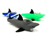 "Silicon Shark Pipe with Glass Bowl 5"" Assorted Colors"