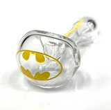 """Clear Colorado Blown, Sand Carved and One Color Painted Glass Hand Pipe 5""""+-"""