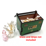 """Desk Qtip ISO Dab Dumpstar Dumpster Printed Cedar Box 4.25"""" x 3"""" - USA Made 1 Count Assorted Color"""