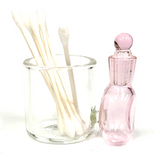 """Pink Glass Cotton Swab Q-Tip Holder / Alcohol ISO Station 2.5"""""""