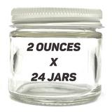 "2"" 2oz Glass Jar w/ White Lid (24 PACK CASE)"