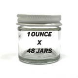 "1.5"" 1oz Glass Jar w/ White Lid (48 PACK CASE)"