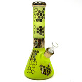 """Busy Bee Yellow 12.5"""" Sandblasted Electroplated Beaker Glass Water Pipe"""