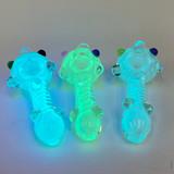 "Glow In The Dark GLOMAR Explorers 4"" Glass Hand Pipe"
