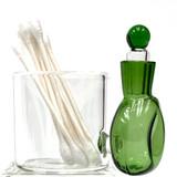 "Fresh Green Glass Cotton Swab Q-Tip Holder / Alcohol ISO Station 2.5"""